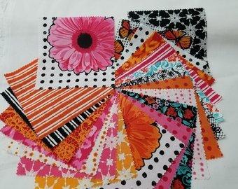 Flower Power Layer Cake 10'' squares 42 pieces Orange&Pink