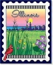 Illinois State Stamp 6x 7 Panel Zebra Patterns