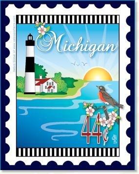 Michigan State Stamp 6x 7 Panel Zebra Patterns