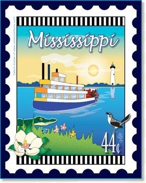Mississippi State Stamp 6x 7 Panel Zebra Patterns