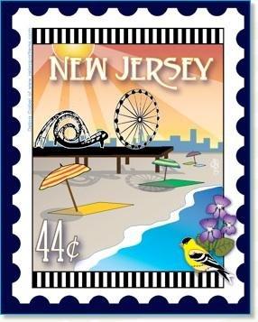 New Jersey State Stamp 6x 7 Panel Zebra Patterns