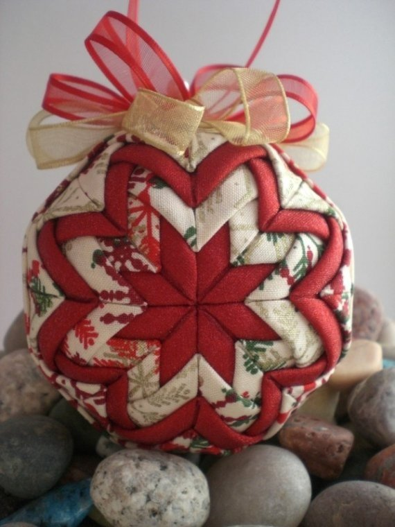 Quilted Christmas Ornament No Sew Folded Fabric Balls Youtube