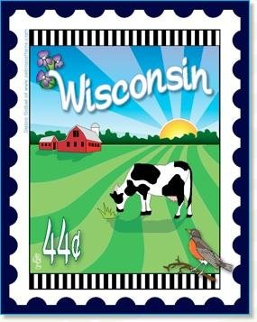 Wisconsin State Stamp 6x 7 Panel Zebra Patterns