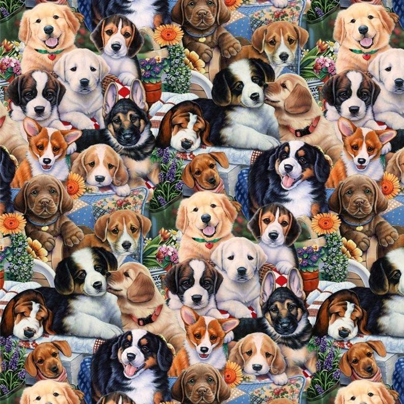 David Textiles - Garden Puppies