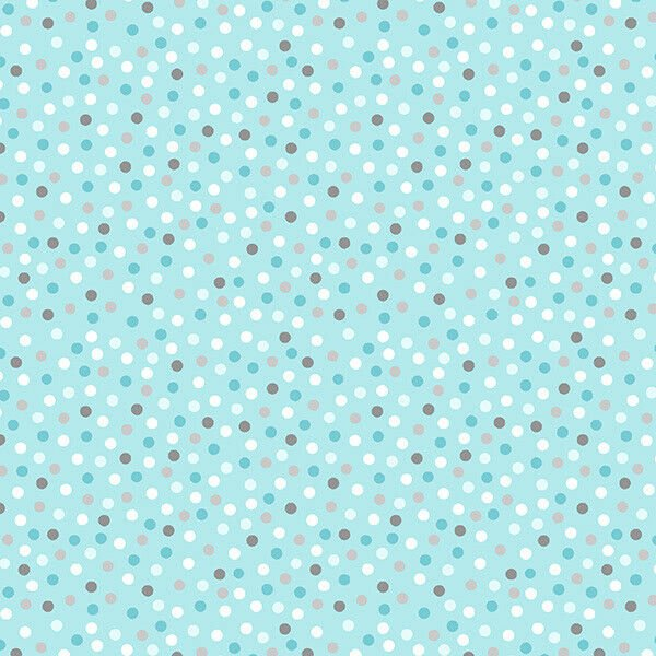 Wilmington Prints - Little Sunshine by Pink Chandelier - Polka Dots on aqua