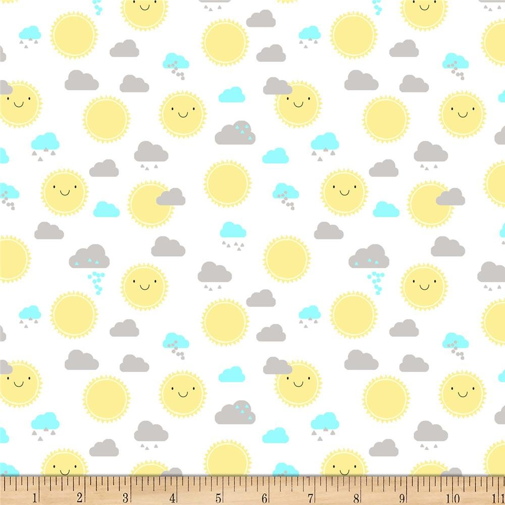 Wilmington Prints - Little Sunshine by Pink Chandelier - Scatter Sun, Clouds on white