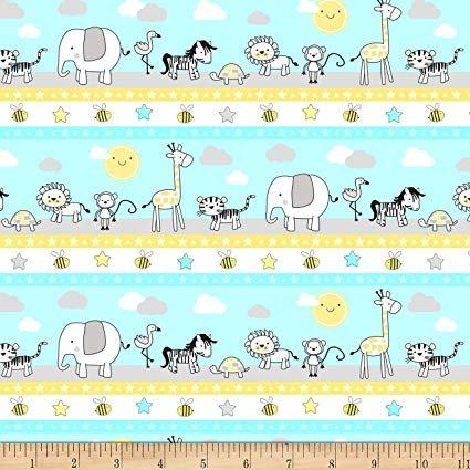 Wilmington Prints - Little Sunshine by Pink Chandelier - Stripe Animals Line