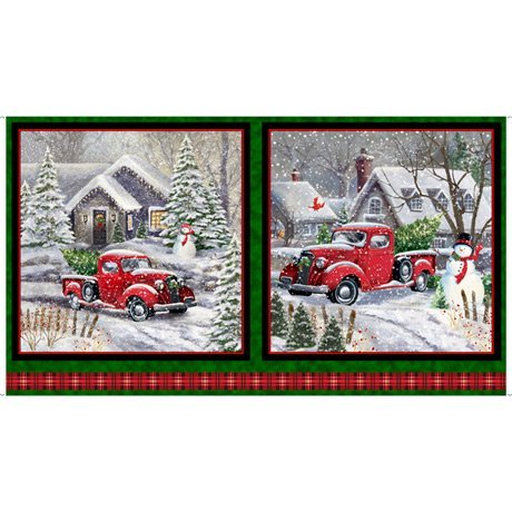 RED TRUCK CHRISTMAS PANEL