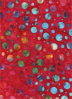 BATIK TEXTILES - DOTS ON RED