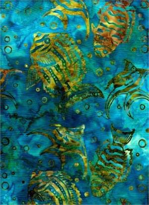 BATIK TEXTILES - FISH ON AQUA