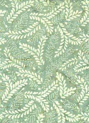BATIK TEXTILES - LEAVES ON SOFT GREEN