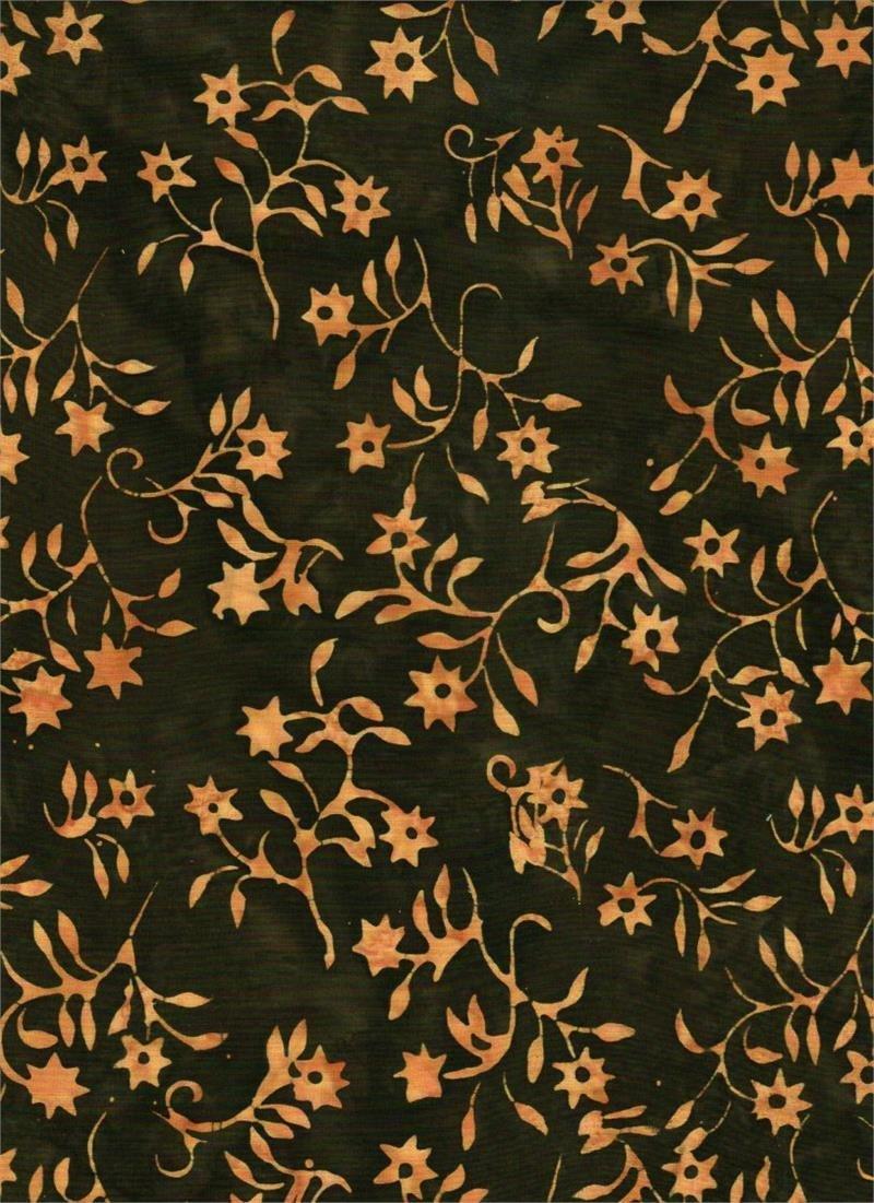 BATIK TEXTILES - FLORAL BROWN
