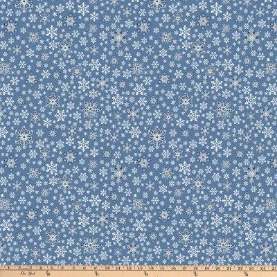 DENIM BLUE METALLIC BLUE SNOWFLAKES
