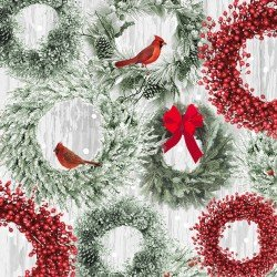 HOLIDAY WISHES - WREATHS/CARDINALS
