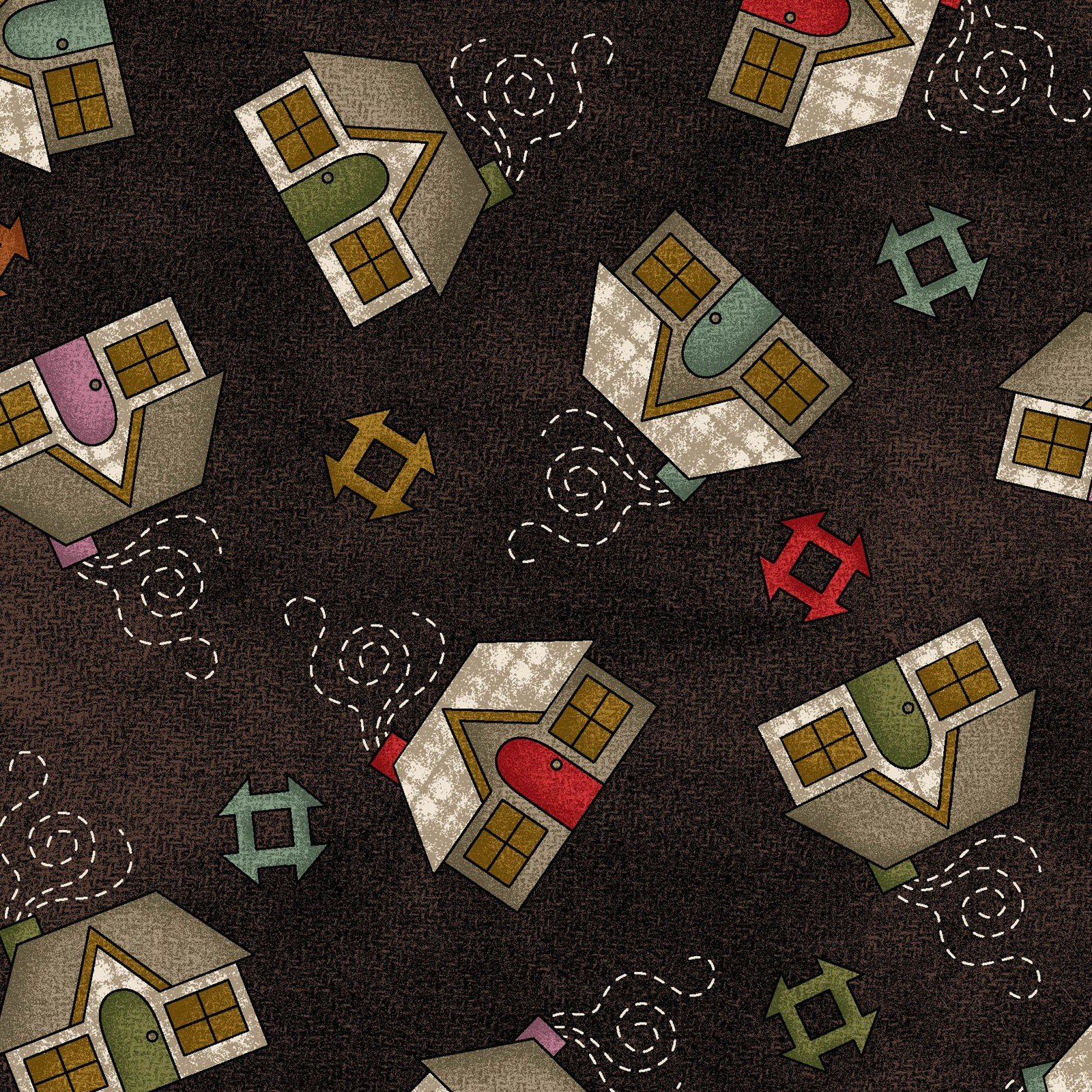 HOME SWEET HOME FLANNEL - CHOCLATE HOUSES