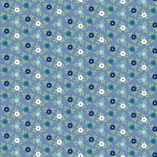 Catalina Flannel Blue Flower