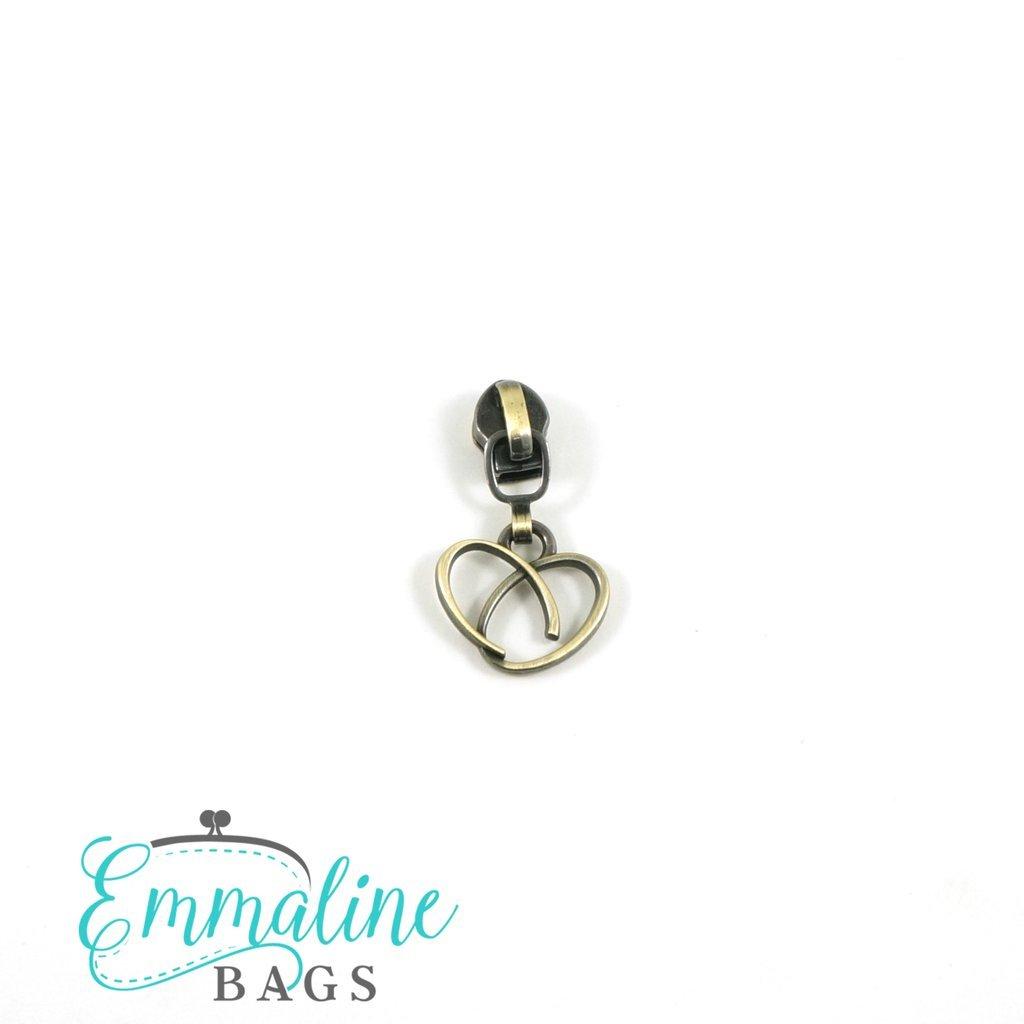 #5 Emmaline Heart Zipper Slide 10pk Antique Brass