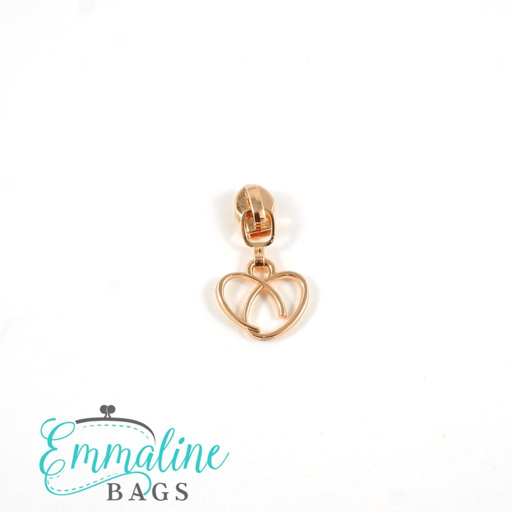#5 Emmaline Heart Zipper Slide 10pk Rose Gold