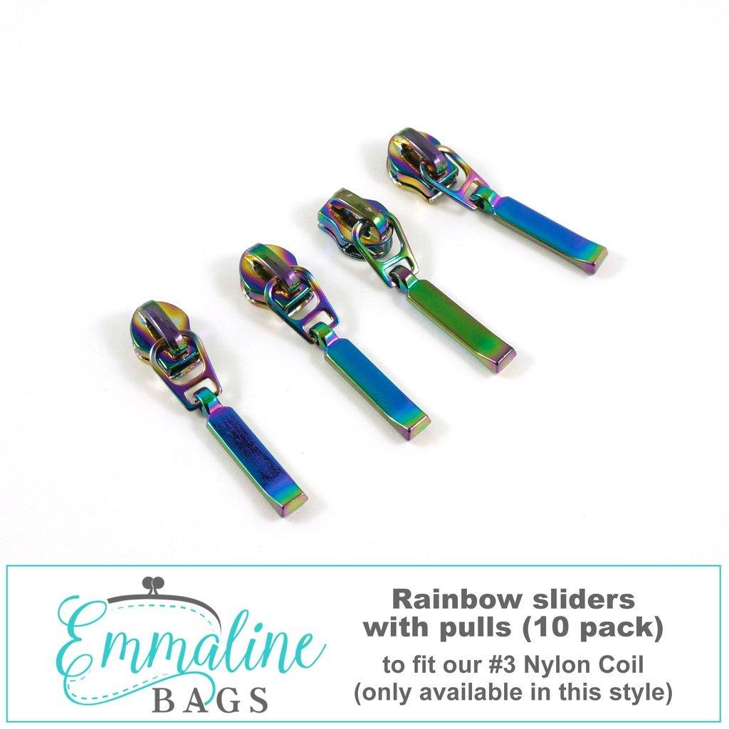 #3 Emmaline Rectangular Zipper Slide 10pk Rainbow