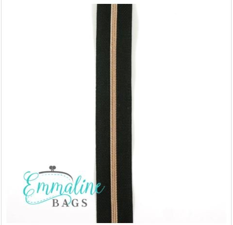 #5 Emmaline Zippers-by-the-Yard 10yds Black Rose Gold Teeth - copy