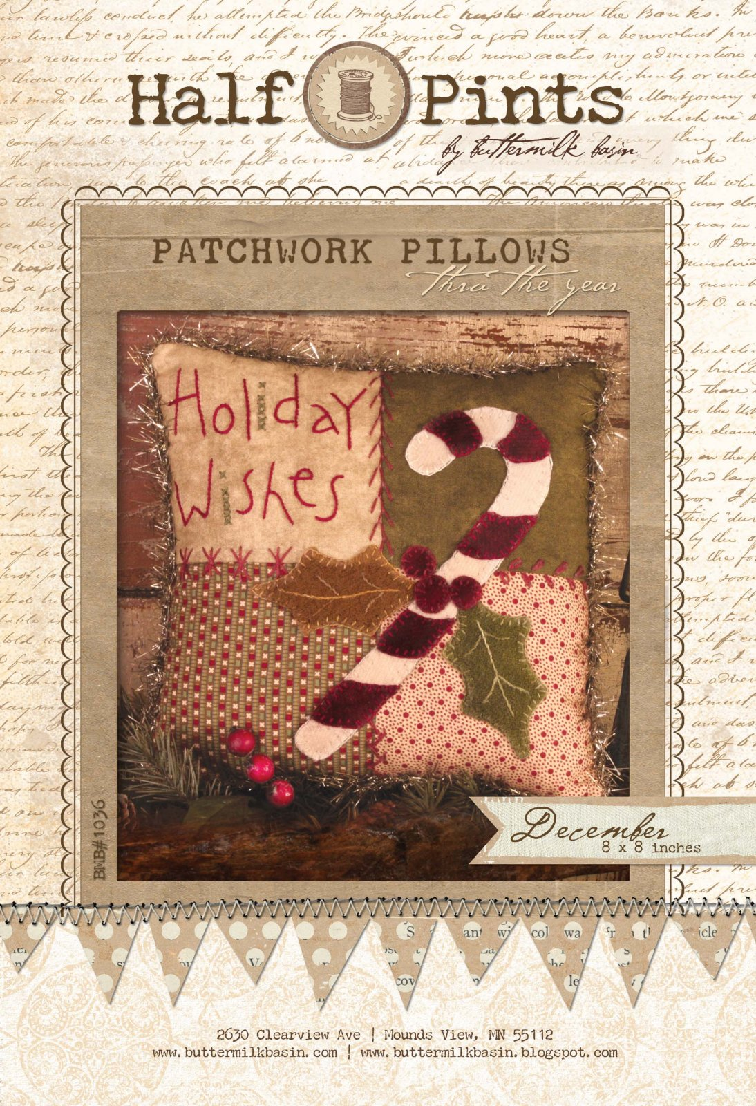 Holiday Wishes Patchwork Pillow - December