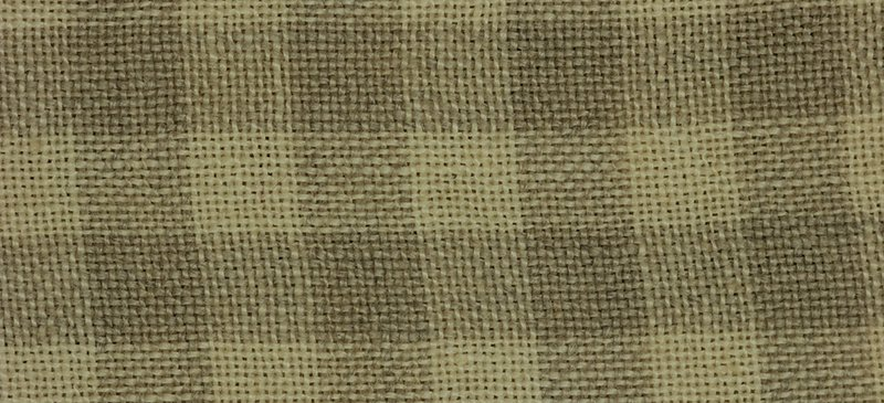 Khaki gingham check 28 ct linen  8 x 12 piece