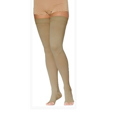 c737828a5440b0 Access 20mm-30mmHg Open Toe Thigh High Unisex Compression Stockings with Silicone  Border