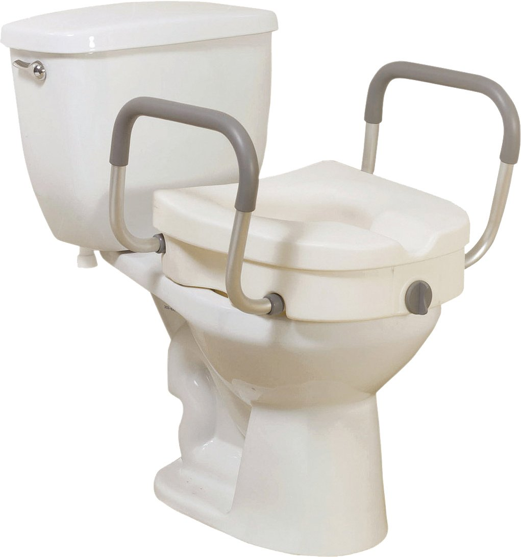 5 Inch Clamp-on Elevated Toilet Seat with Padded Arms