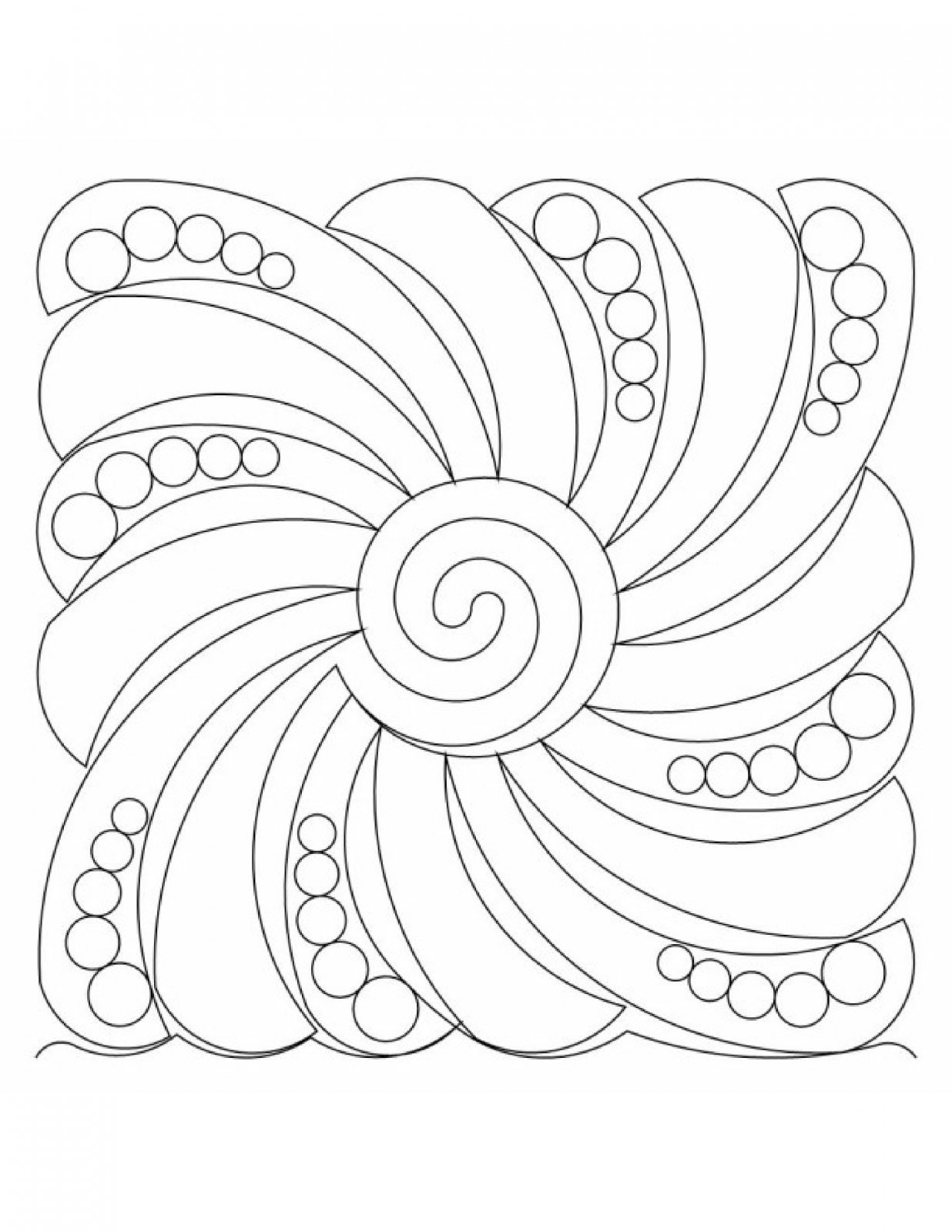 Abstract Feather Swirl Pearls Block E2E .025