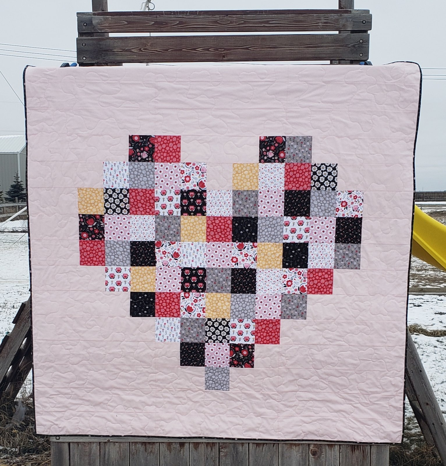 Pixelated Heart Quilt (Field of Poppies)