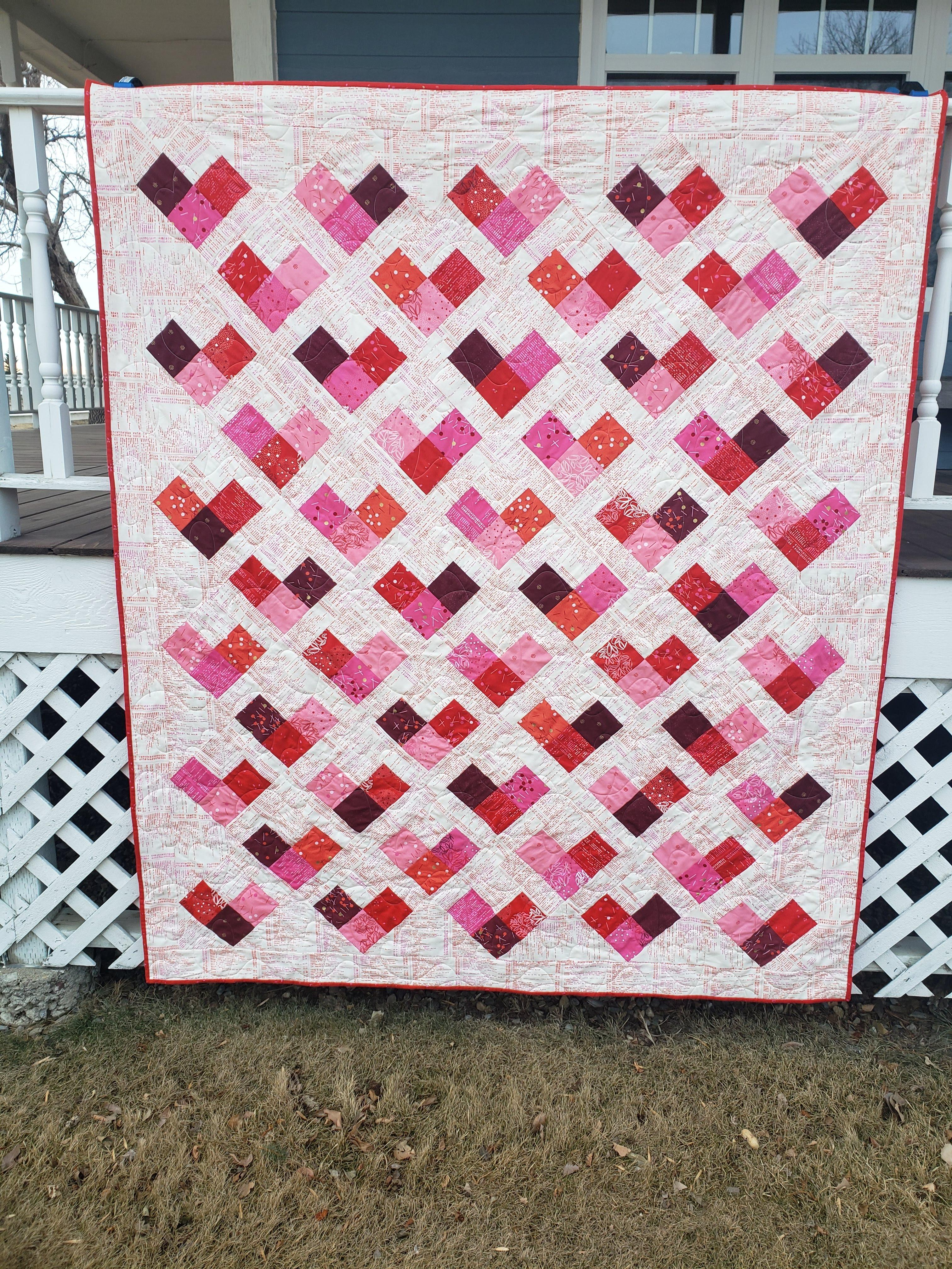 Quilty Hearts Throw Kit, Just Red