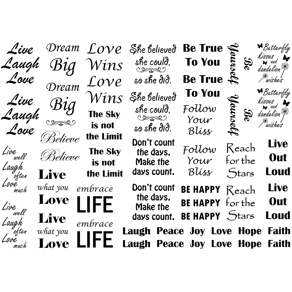 Inspirational Words Fusible Black Glass Decal  Inspirational Words D926