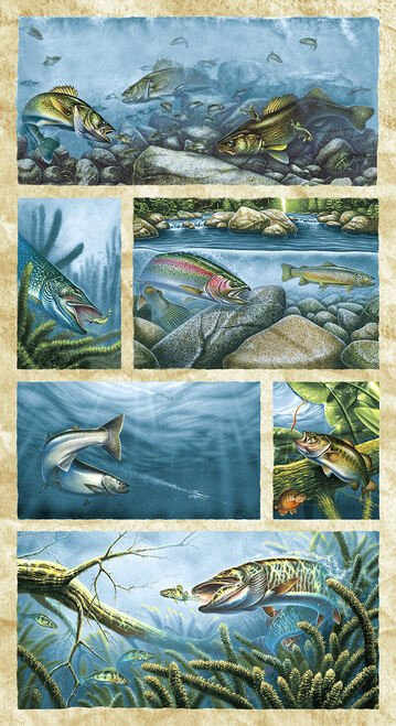 Blank Quilting - Keep It Reel - Scenic Fish Panel - 1363P-70 - Multi