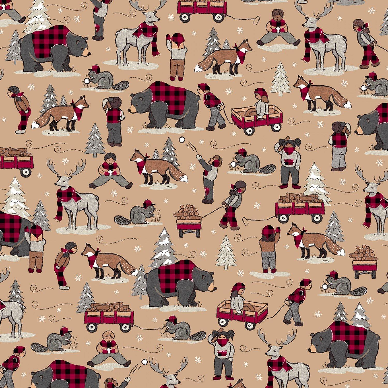 Foust Textiles - Lumber Jack & Jane - Children At Play - 52467 3 - Tan