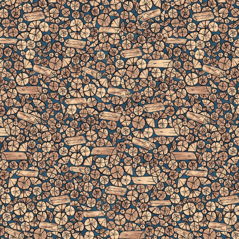 Foust Textiles - Lumber Jack & Jane - Logs - 52471 2 - Blue/Brown