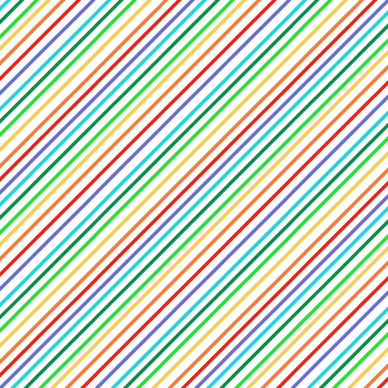 Foust Textiles - Farm Friends - Rainbow Stripe - 52616-1 - White