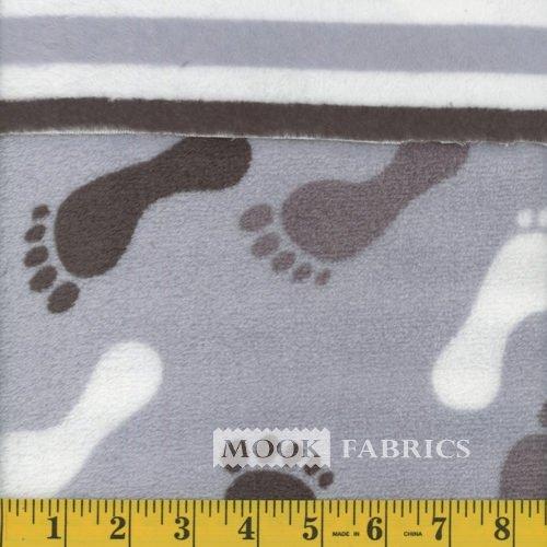 2 Sided Fleece Flannel - KC 4014 201 - Feet/Strip - Blue