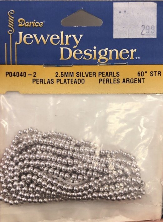 Silver Pearls - 2.5mm, 60 string