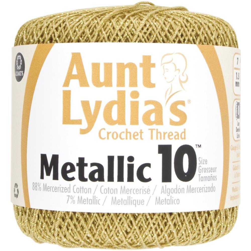 Aunt Lydia/'s Metallic Crochet Thread Size 10 Gold /& Gold 073650815683