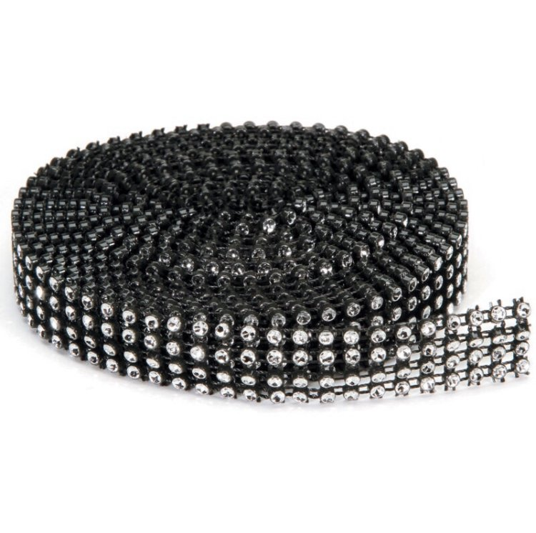 Bling on a Roll - 3mm x 3 yds, 4 rows, Black and Silver