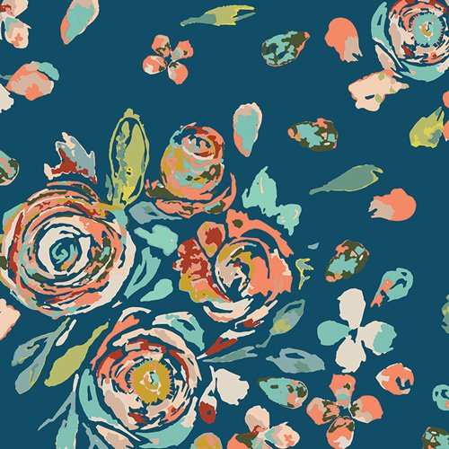 Fleet & Flourish - Floral navy bkgrd (Swifting Flora Swell)