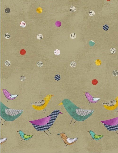 Collage - Birds Border Tan