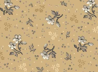 Cottage Whites - Tan sm floral