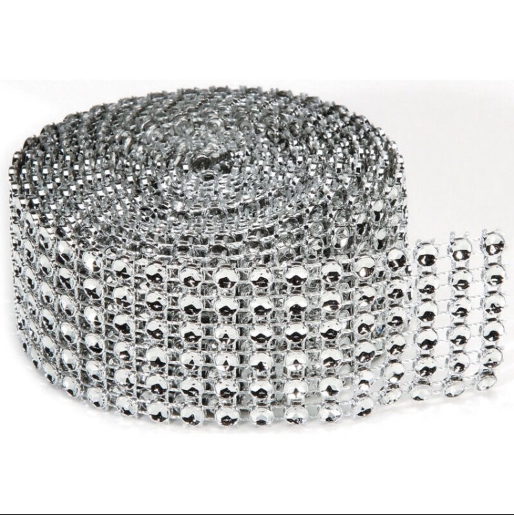 Bling on a Roll - 4mm x 2 yds, 6 rows, Silver