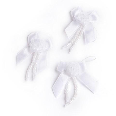 Bridal Shower Favors - White Rose Bows, 12/pkg