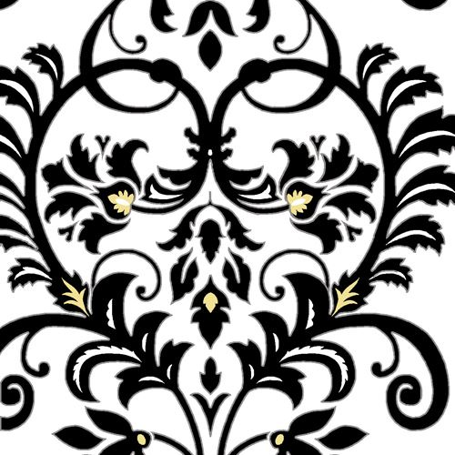 Aubrey - Flowers: Damask Scroll: White