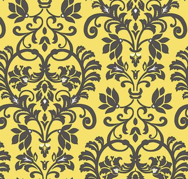 Aubrey - Flowers: Damask Scroll: Yellow