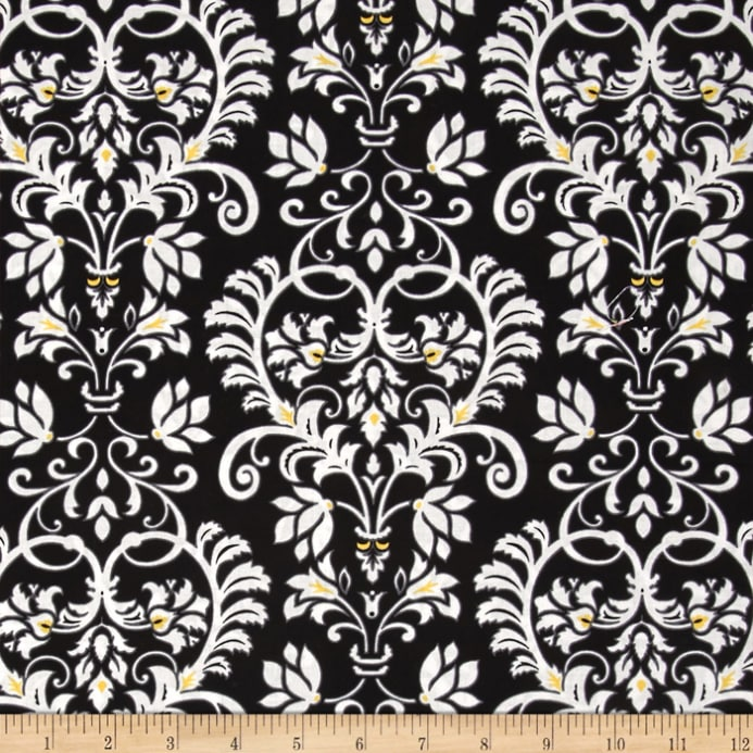 Aubrey - Flowers: Damask Scroll: Black