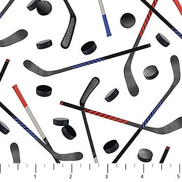 All Star Hockey - pucks and sticks on white background