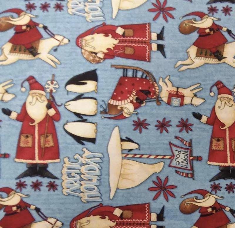 Artic Holiday - Primitive Christmas Penguins/Santa